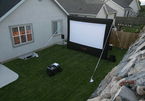 Backyard Movie Night Setup